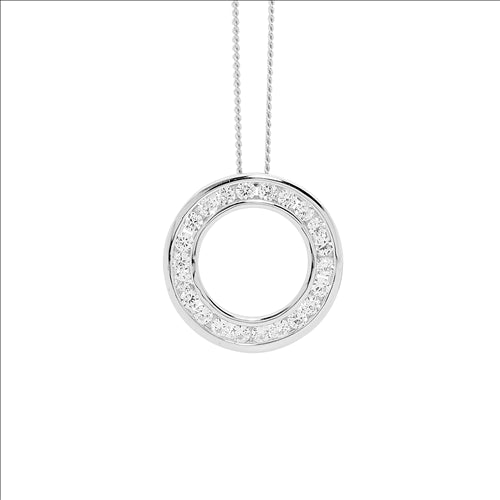 SS WH CZ RND CHANNEL SET 1.9MM CIRCLE PENDANT