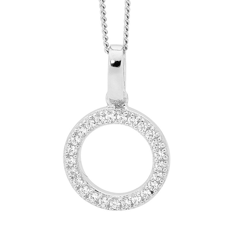 SS WH CZ DROP CIRCLE PENDANT