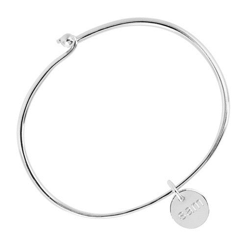 12MM SILVER ENGRAVABLE DISC ON 2MM SOLID SILVER OVAL TENSION BANGLE, 60MM INNER DIAM