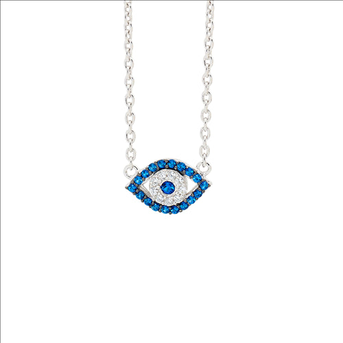 SS WH & DARK BLUE CZ EVIL EYE NECKLACE