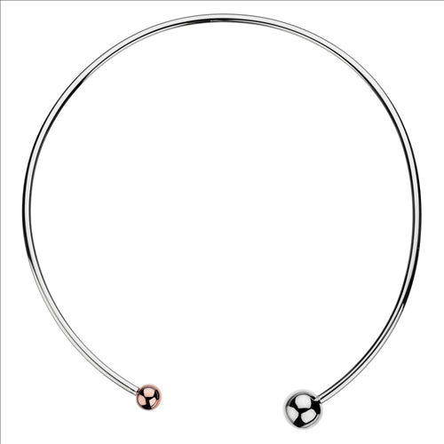 3MM STERLING SILVER HOLLOW TUBE CHOCKER W/ 12MM STERLING SILVER BALL & 8MM ROSE GOLD PLATE BALL