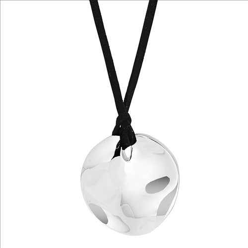 39MM DIMPLED, ROUND SILVER DISC PENDANT ON N0040 1MT BLACK GAMUZA WITH SILVER SLIDER