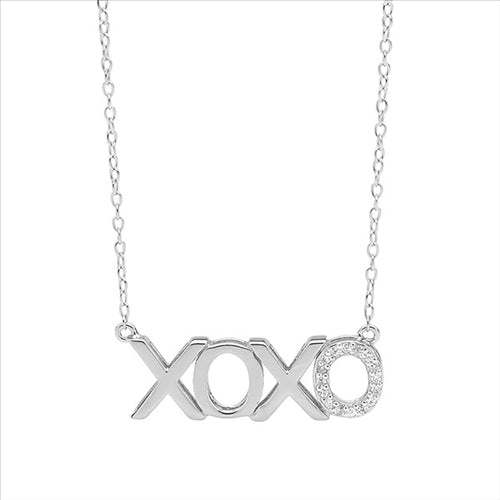 SS XOXO W/ WH CZ & ATTACHED CHAIN PENDANT