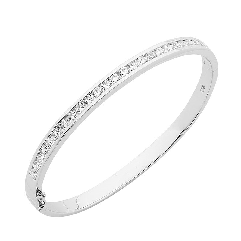 WH CUBIC ZIRCONIA ROUND CHANNEL SET BANGLE