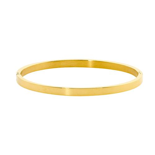 STAINLESS STEEL 4MM FLAT HINGED BANGLE W/ GOLD IP PLATING - RRP $59