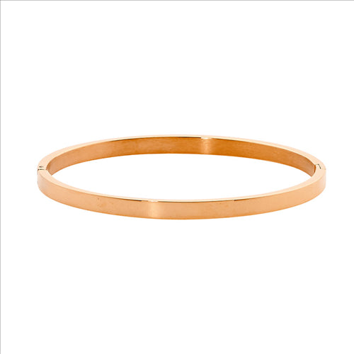 STAINLESS STEEL 4MM FLAT HINGED BANGLE W/ ROSE GOLD IP PLATING - RRP $59