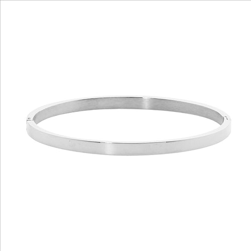 STAINLESS STEEL 4MM FLAT HINGED BANGLE - RRP $49