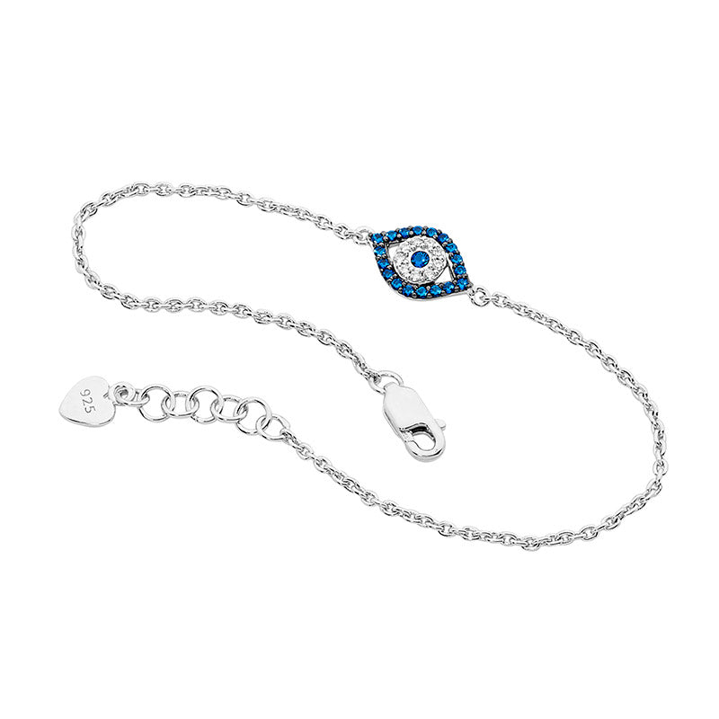 SS WH & DARK BLUE CZ EVIL EYE BRACELET