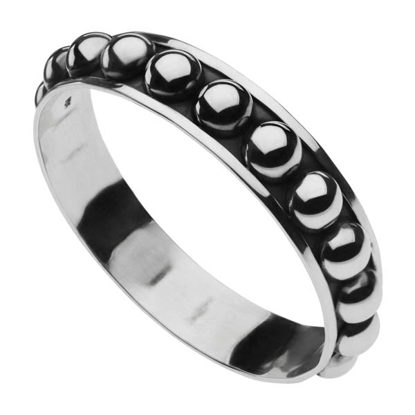 15MM OXIDISED SILVER HALF BALL BANGLE 64MM INT.DIAM