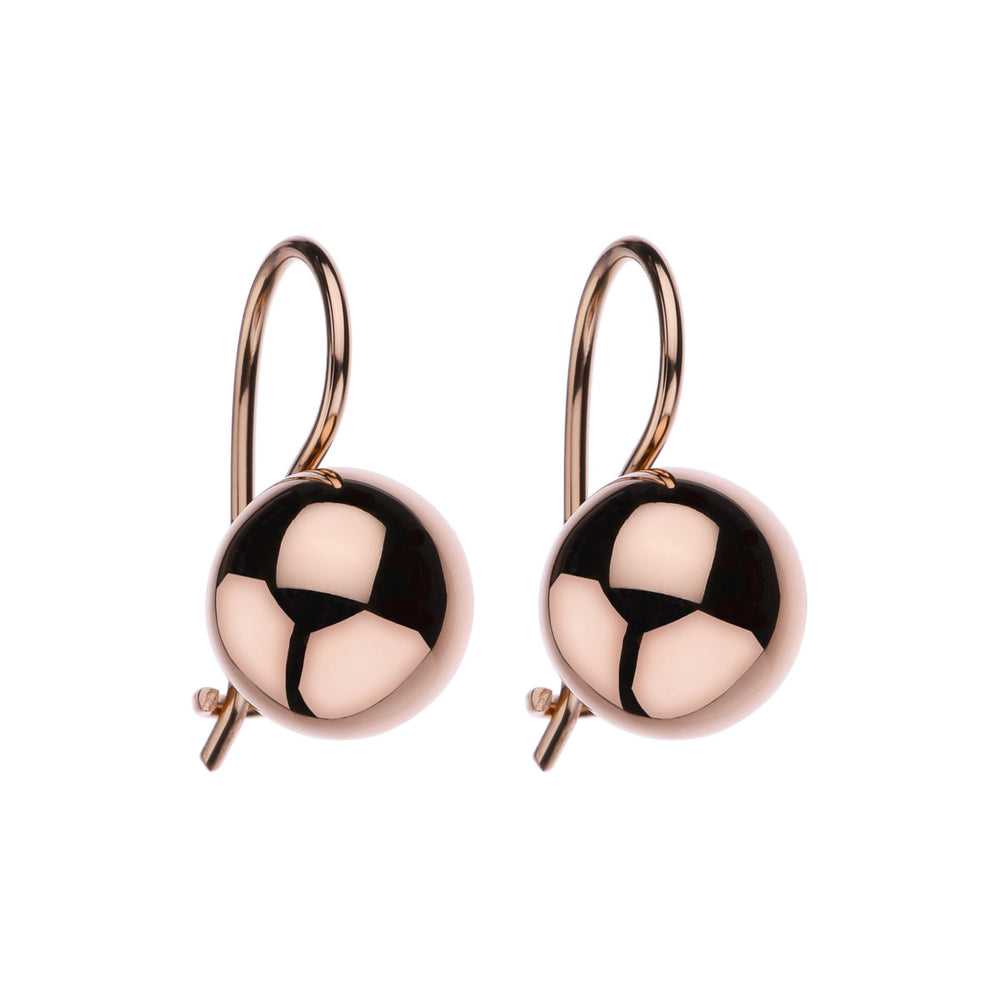 10MM ROSE GOLD (18K 1MC) PLATED SILVER EURO-BALL EARRING, ANTITARNISH