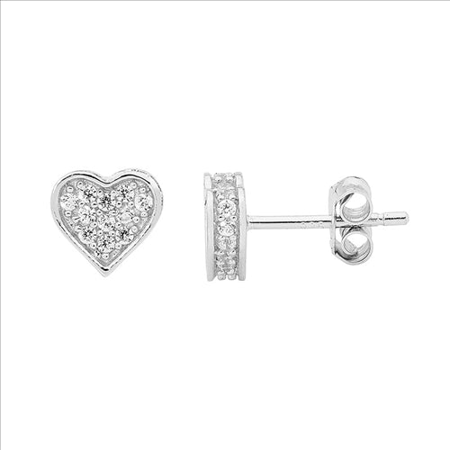STERLING SILVER WH CUBIC ZIRCONIA PAVE FLAT HEART EARRINGS