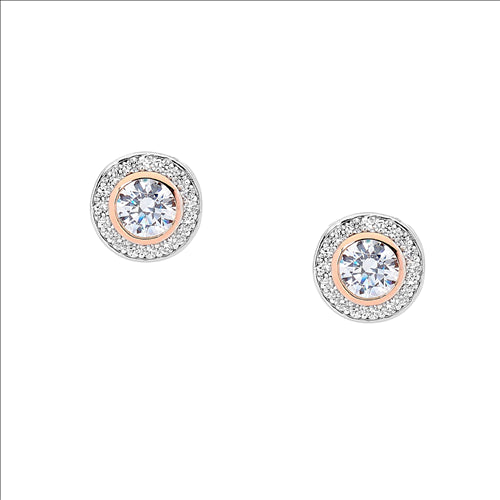STERLING SILVER ROUND WH CUBIC ZIRCONIA W/ ROSE GOLD PLATING & WH CUBIC ZIRCONIA SURROUND EARRINGS