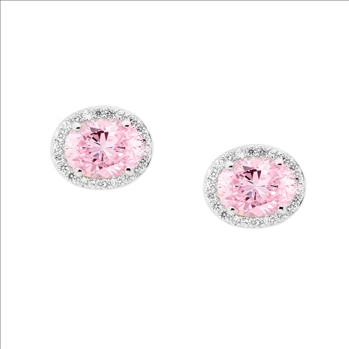 STERLING SILVER LIGHT PINK OVAL CUBIC ZIRCONIA SURROUND EARRINGS