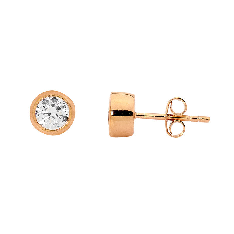 STERLING SILVER 5MM WH CUBIC ZIRCONIA BEZEL STUDS W/ ROSE GOLD PLATING