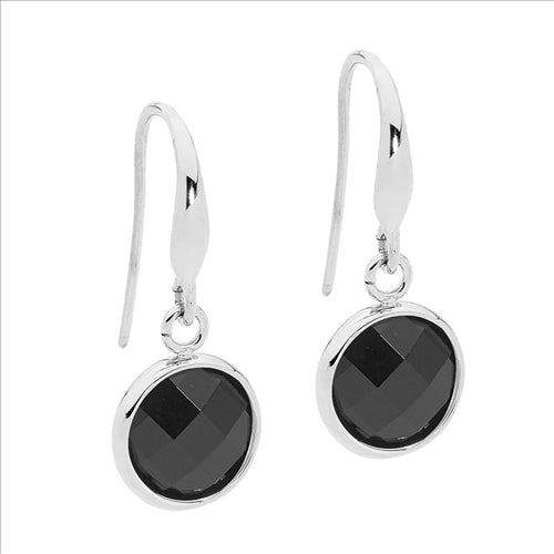 STAINLESS STEEL EARRINGS W/ ROUND BLACK GLASS DROP - RRP $49