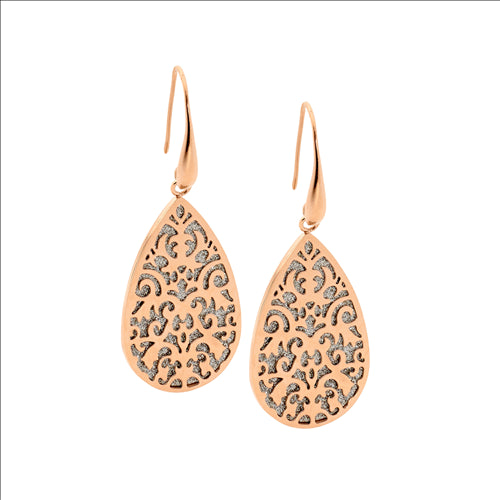 STAINLESS STEEL FILLIGREE TEAR EARRINGS W/ SHIMMER BACK & RS GOLD IP PLATING - RRP $89