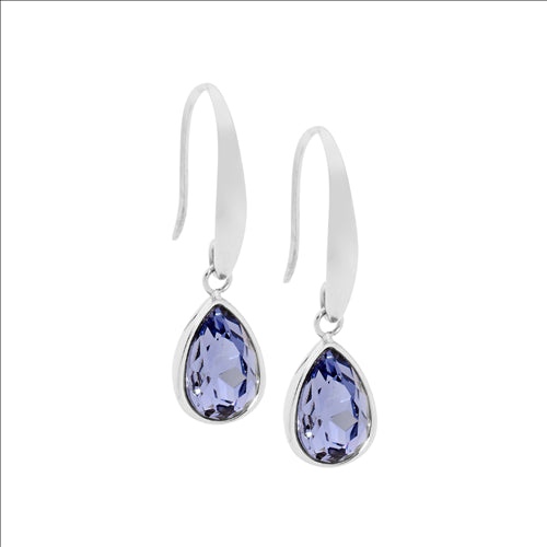 STAINLESS STEEL TEAR DROP EARRINGS W/ AMETHYST GLASS - RRP $59