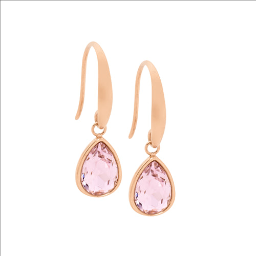STAINLESS STEEL TEAR DROP EARRINGS W/ PINK GLASS & ROSE GOLD IP PLATING - RRP $59