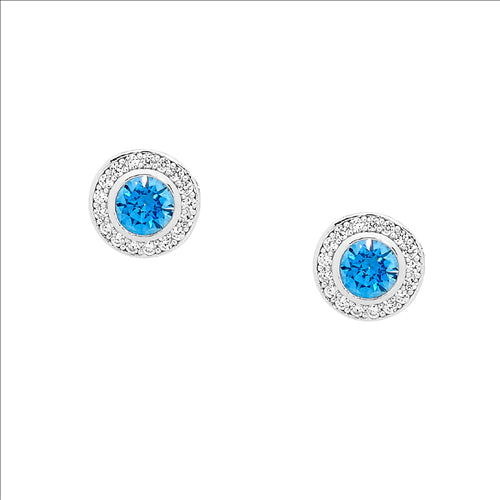 SS ROUND FANCY BLUE CZ SOL. W/ WH CZ CLAW SURROUND EARRINGS - RRP $89
