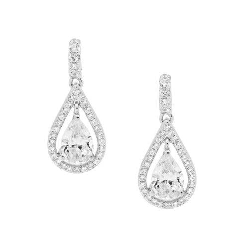 SS WH CZ DROP TEAR W/ WH CZ PEAR EARRINGS - RRP $149