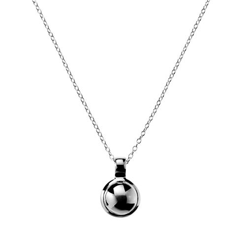 12X18MM DOMED SILVER DISC PENDANT WITH BALE ON C0120-42CM +5CM EXT, ANTITARNISH