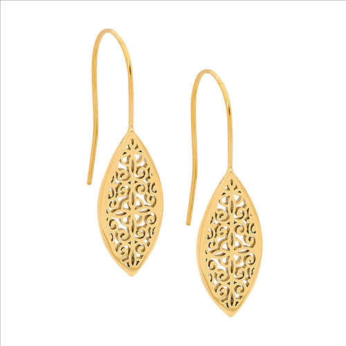 STAINLESS STEEL FILIGREE LEAF EARRINGS W/GOLD IP PLATING - RRP $49