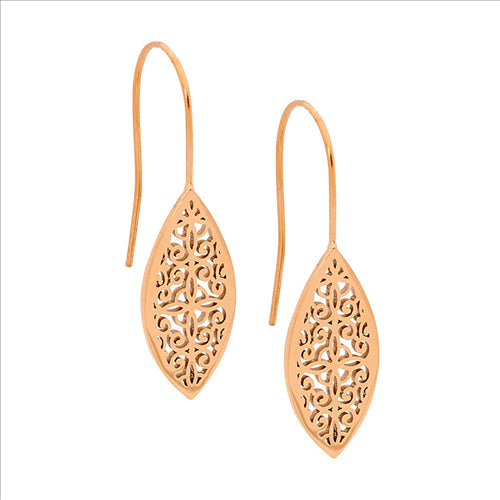 STAINLESS STEEL FILIGREE LEAF EARRINGS W/ROSE GOLD IP PLATING