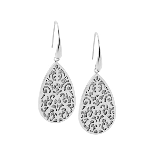 STAINLESS STEEL FILLIGREE TEAR EARRINGS W/ SHIMMER BACK - RRP $89