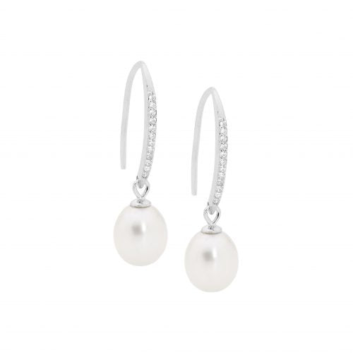 SS WH CZ DROP SHP HOOK EARRINGS W/ FRESHWATER PEARL - RRP $69 - B/O