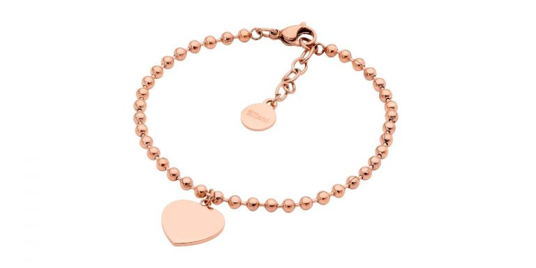 STAINLESS STEEL 18CM BALL CHAIN BRACELET W/ FLAT HEART & ROSE GOLD IP PLATING - RRP $49