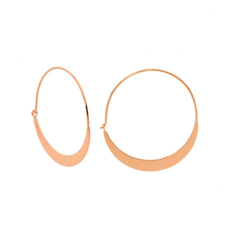 STAINLESS STEEL 33MM FLAT HOOP EARRINGS W/ ROSE GOLD IP PLATING - RRP $39