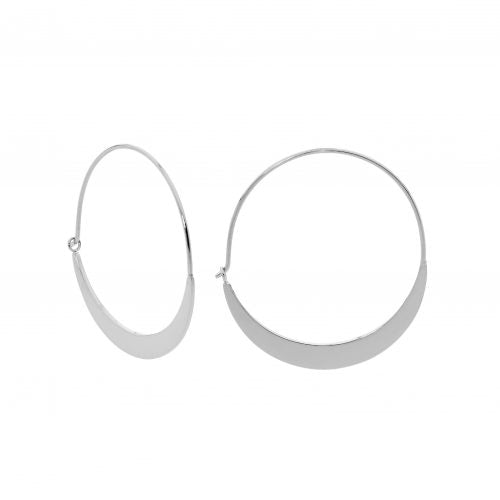 STAINLESS STEEL 33MM FLAT HOOP EARRINGS - RRP $39