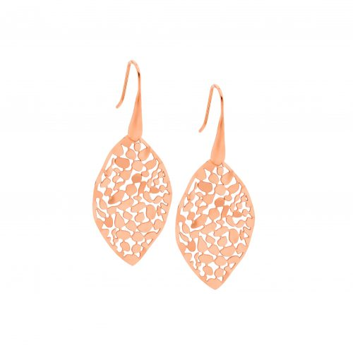 STAINLESS STEEL 35MM LEAF EARRINGS SHP/HOOK W/ ROSE GOLD IP PLATING - RRP $49