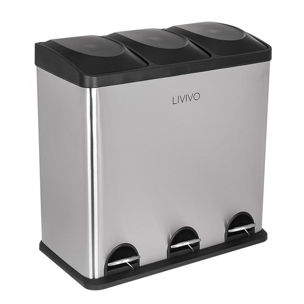 60L Stainless Steel Pedal Bin With 3 Removable Compartments