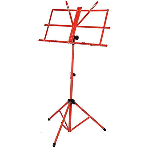 Folding Red Music Sheet Metal Stand With Carry Case Bag