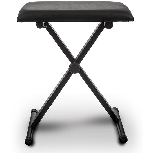 Folding Height Adjustable Black Leather Piano Bench