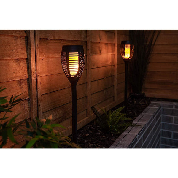 Set of 4 74cm Solar Torch LED Light With Flickering Flames