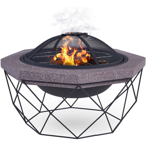 Diamond Stand Fire Pit Brazier with Mesh Spark Guard, BBQ Grill Insert and Metal Fire Poker
