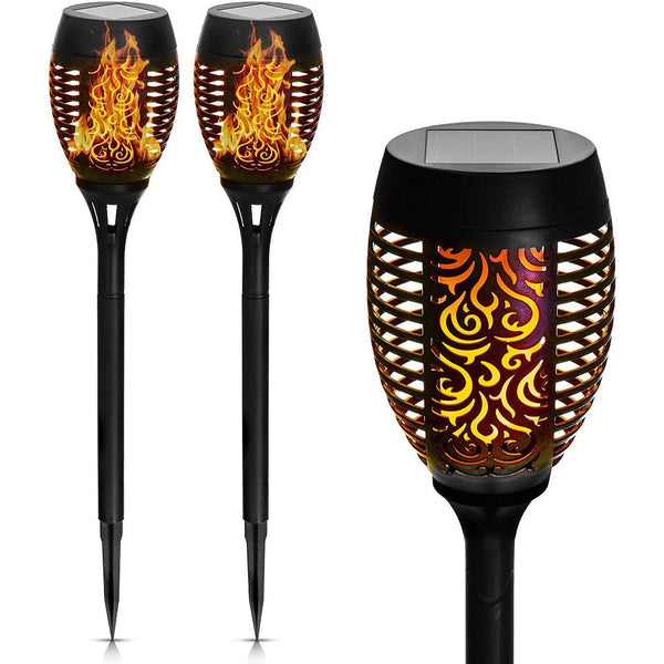 Set of 2 74cm Solar Torch LED Light With Flickering Flames