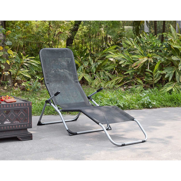 Foldable 'Rocking' Sun Lounger With Arm Rests