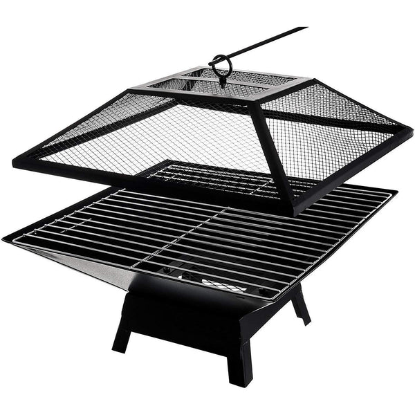 Outdoor Garden Fire Pit Brazier With BBQ Grill