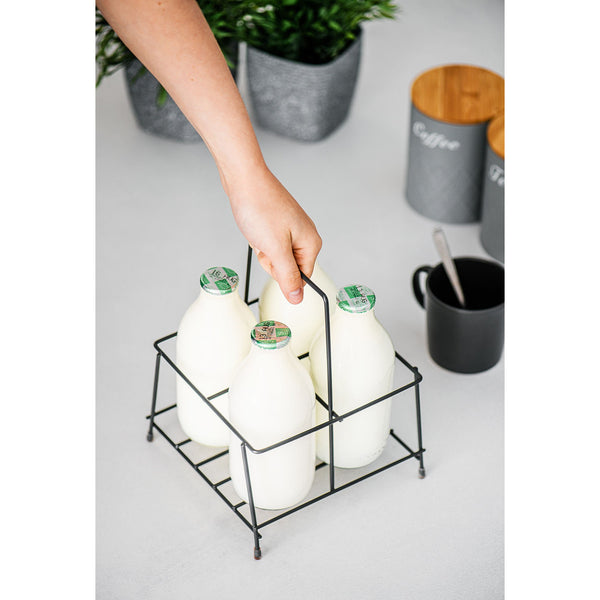 LIVIVO 4 Milk Bottles Metal Wire Holder