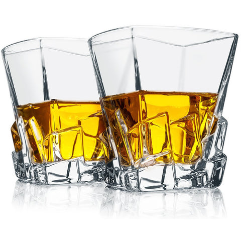 Set of 2 On The Rock Whiskey Glasses