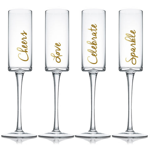 Set of 4 Champagne Flute Glass With Gold Decal