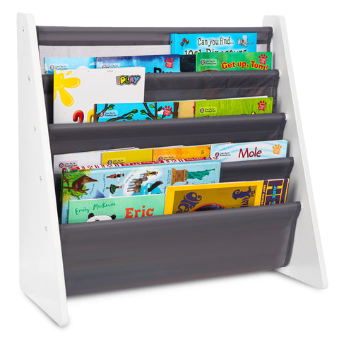 Children's Storage Bookshelf With 5 Slings Grey