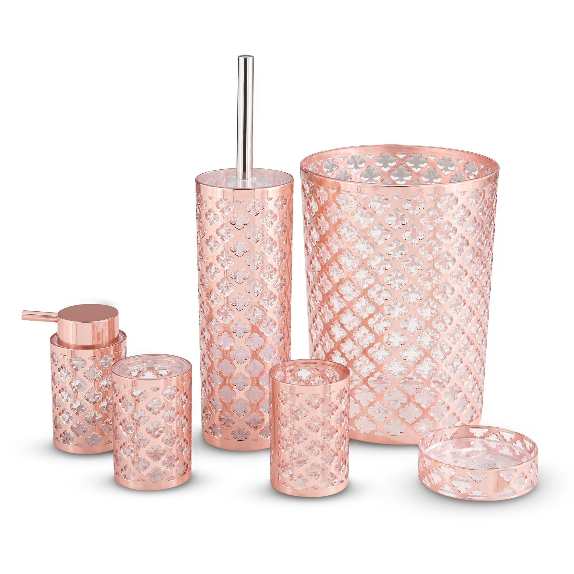 Rose Gold Lattice 6 Pc Bathroom Set
