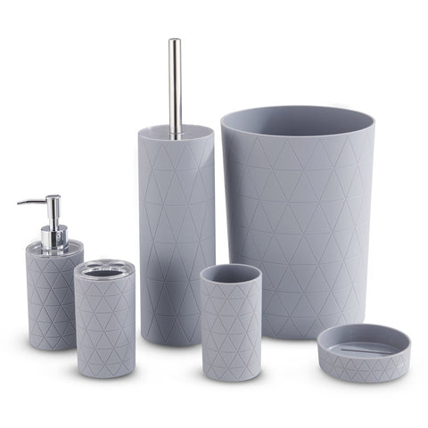 Grey Geo 6 Piece Bathroom Set