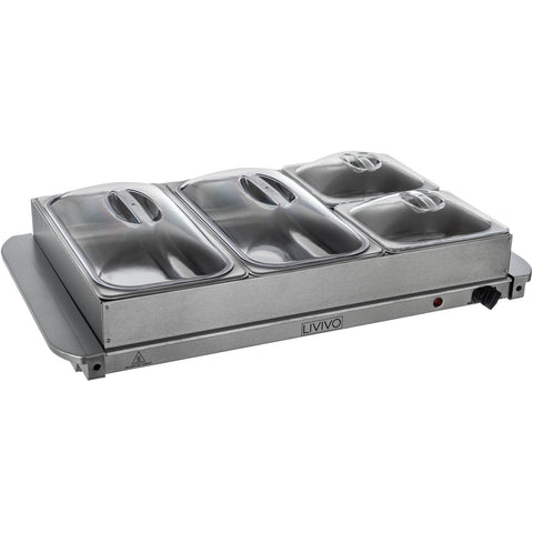 4 Section Buffet Server & Warming Tray