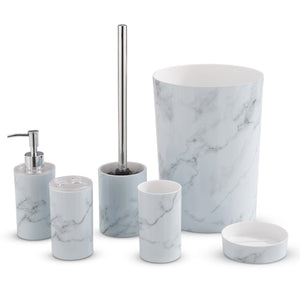 White Marble 6 Pc Bathroom Set