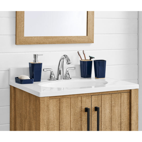 6pc Glossy Navy Bamboo Detail Bathroom Set